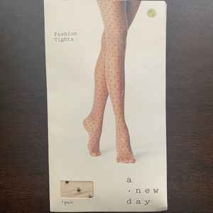 A New Day Fashion Tights Nude w/black specks M/L